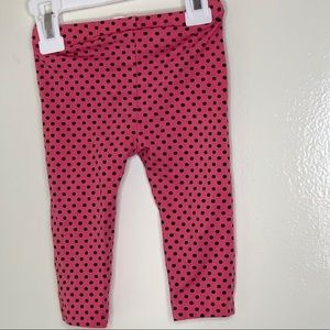 First Impressions Bottoms - Pink leggings with black polka dots